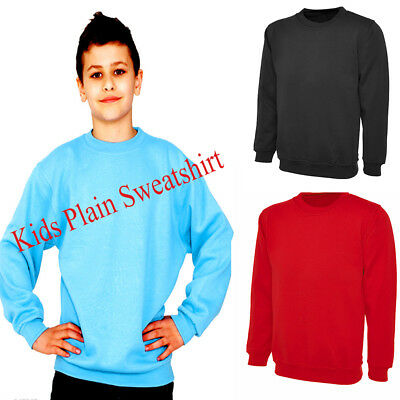 Unisex Kids Plain Fleece Classic Sweatshirt Sweater School Jumper Top Age 7 - 13