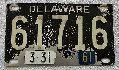 """1961 Delaware """"Palindrome"""" License Plate # 61716"""