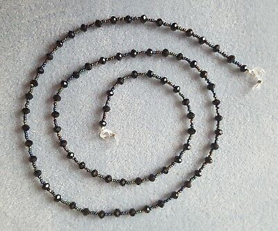 Black faceted crystal & metallic bead glasses spectacles holder chain 90 cm long
