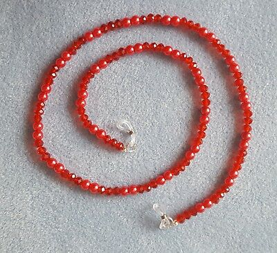 Red faceted crystal & faux pearl glasses spectacles holder chain 65 cm long