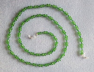 Green faceted crystal & glass bead glasses spectacles holder chain 80 cm long