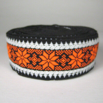 Trim Edging Seam Size 2 inches Wide 16 Yards Long Polyester Floral Orange Black