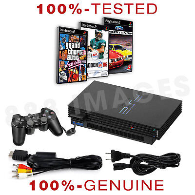 Original Sony Playstation PS2 Fat Video Game System Console + 3 Random Games