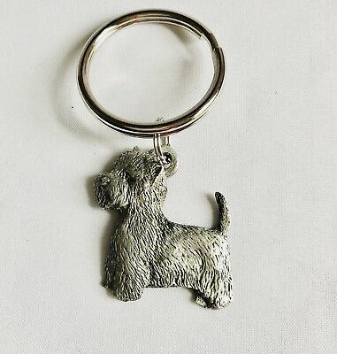Pewter West Highland White Terrier Westie Dog Puppy Silver Metal Keychain