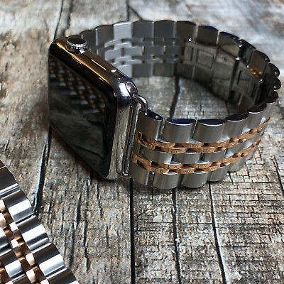 For Apple Watch Series 4 3 2 44mm 42mm Brushed Stainless Steel Strap Watch Band