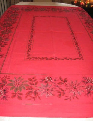 """Vintage Red Gold Cotton Tablecloth Pinecones Poinsettias 50"""" By 62"""""""