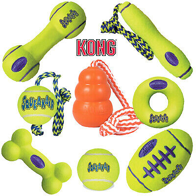 KONG Airdog Squeak Ball Rope Fetch Stick Football Bone Dumbell Yellow