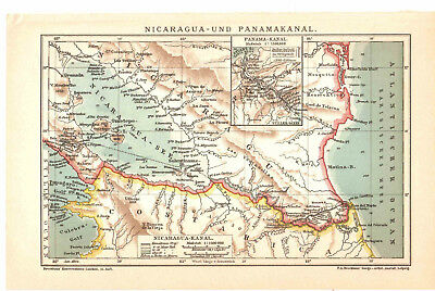 Antique map. CENTRAL AMERICA. NICARAGUA & PANAMA CANAL. 1904