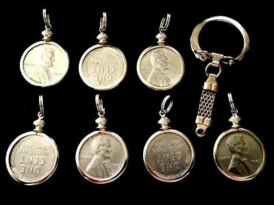 ONE 19mm Coin Bezel Holder w/1943 Steel Cent Silver-Tone KeyChain Pendant Penny