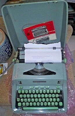 Vintage Hermes 3000 Sea Green Aqua Portable Typewriter with Instructions CLEAN