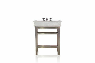 "Stainless Steel Bath Vanity 30"" Carrera Marble Top Open Shelf Console Package"