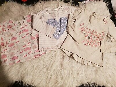 Girls 12-18 months long sleeve tops bundle x3 floral cat winter spring next day