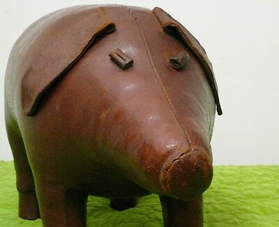 Vintage MCM Genuine Pigskin Leather Pig Ottoman Sarreid Spain Mid Century Modern