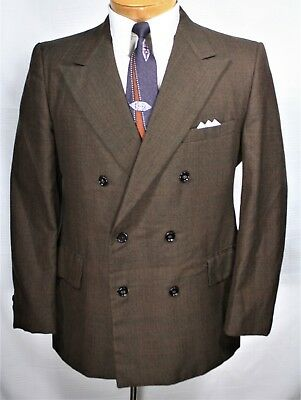 Vtg 60's Men's 2 Pc SUIT 40 S IRIDESCENT BROWN PLAID Double Breasted 35 x 29 MOD