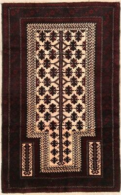 Excellent Fine 90 Knots Geometric 3x5 Wool Balouch Afghan Oriental Area Rug