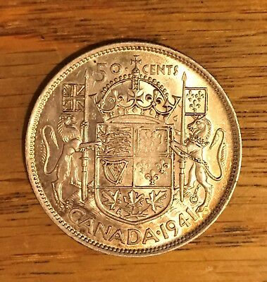 1941  Canada Silver Half Dollar  50 Cents Reverse Much Better Than Obverse 2359