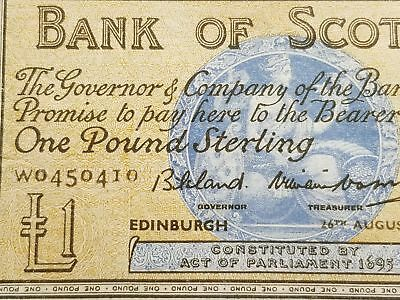 Scotland 1958 One Pound Bank of Scotland Banknote #100c 125-20