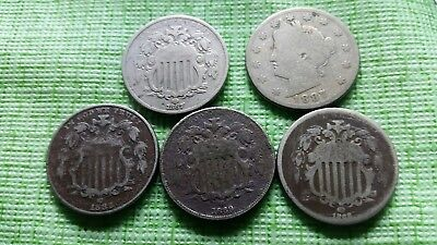 Old US Nickel lot,  4 shield 1 Liberty nice old US coins #D451B