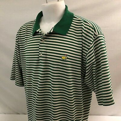 Masters Collection Mens Golf Polo Shirt XL Green Striped 100% Mercerized Cotton