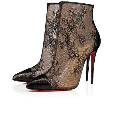 2a26e6d76412 NIB Christian Louboutin Gipsybootie SPC 100 Black Lace Mesh Ankle Heel Boot  36