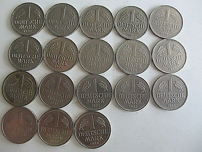 Lot 0f 18 Coins 1950-1988 Germany 1 Mark