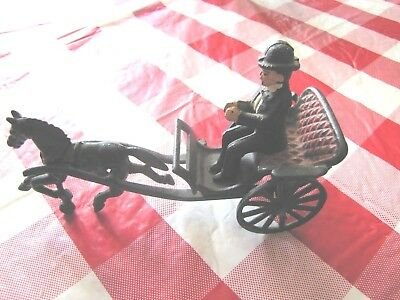 Vintage Cast Iron Toy Country Doctor Horse and Carriage