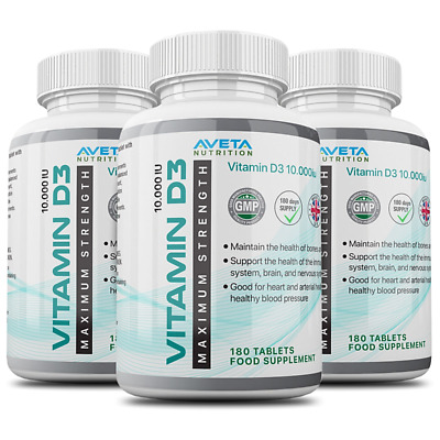 Vitamin D3 10000iu Maxium Strength 3 Bottles 100% Back Guarantee