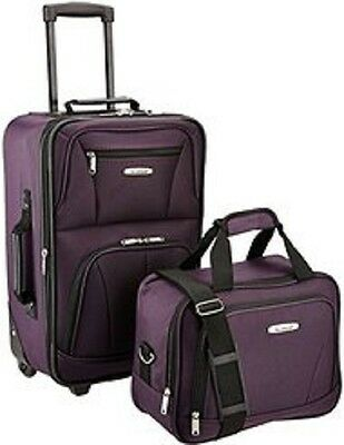 2 Pc Expandable Luggage Set Carry On Tote Bag Rolling Wheels Suitcase Purple New