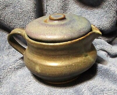 Hand Thrown Pottery Teapot Signed Mel '98, blue/grays