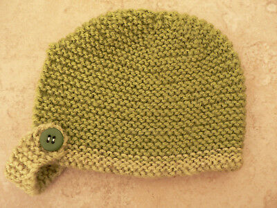 Brand New Hand Knitted Olive Green Baby Bonnet 0-3 / 3-6 / 6-9 Months