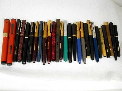 Lot of 27 Vintage Antique Fountain Pens ~ mixed brands Parker Waterman's Moore