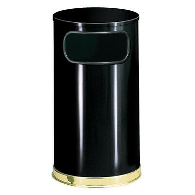 2pc Rubbermaid COMMERCIAL OFFICE ATRIUM RECEPTACLE 12 Gal Black STEEL Trash Can