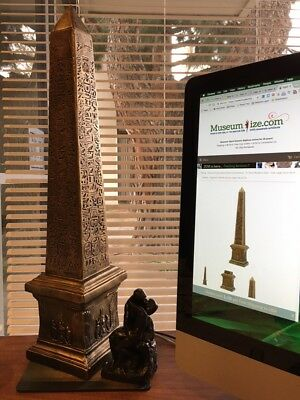 Egyptian Obelisk Statue for Table Top Impressive Large Size 26.5H