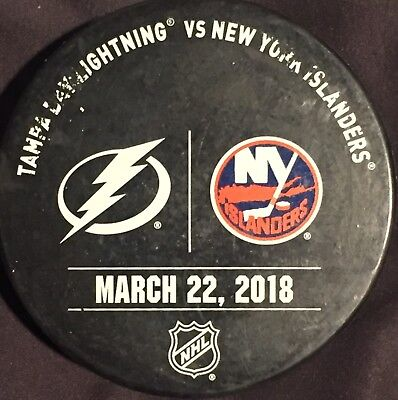 New York Islanders vs Tampa Bay Lightning Game Used Warmup Puck March 22th 2018