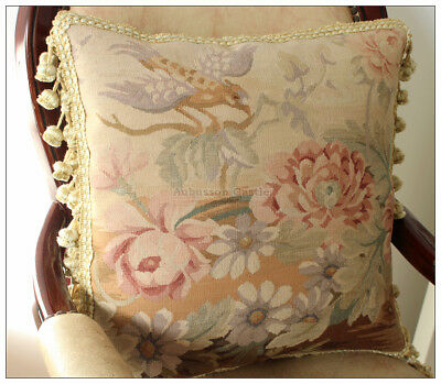 """18"""" VINTAGE BIRD FLORAL Wool Aubusson Pillow Cover Chair Bed Sofa Decorative"""