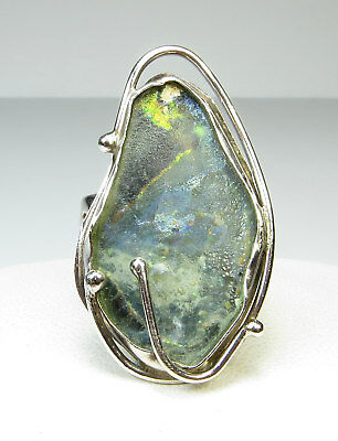 Sterling Silver Modernist Ancient Roman Glass Ring One Of A Kind Artist Signed 7