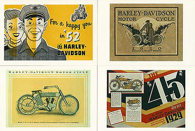 Harley-Davidson Motorcycle 4 Postcard Lot Advertisement Different Models Years