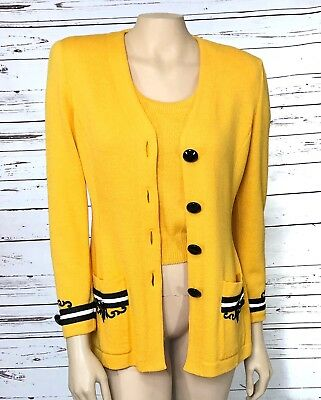 St. John Marie Gray Sz 4 Yellow Black Santana Knit Button Front Jacket Shell