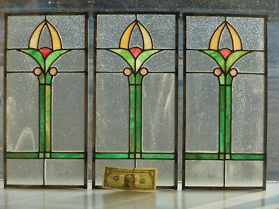 Architectural Salvage Stained Glass, Triplicate Prairie Floral Windows 1920's