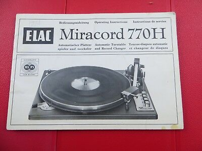Original Manual For An Elac Miracord 770H Turntable Circa 1972 - Great Condition