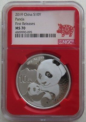 NGC MS70 First Releases China 2019 Panda Silver Coin 30g 10 Yuan Red Pig Label