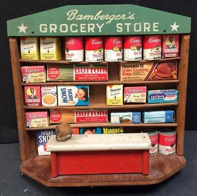 Bamberger's Grocery Store Toy Vintage Toy Store Wood Original, NR