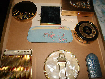 Vintage/Modern Lot of Compacts, Mother Of Pearl Mirror, Trinket Box, Perfume Ca