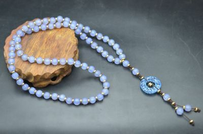 Beautiful Chinese Natural Blue Agate Melon Beads Necklace&jade Plate Pendant