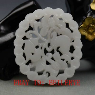 China Natural Hetian White Jade Hand Carved  Magpies & Plum Blossoms Pendant B14