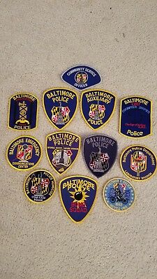 Set of 12 Baltimore City Police Department Maryland unit patches.