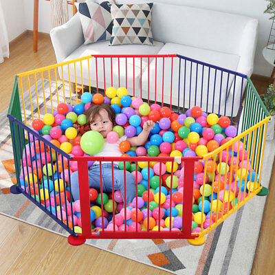 Baby Kids Portable Pet Outdoors 8 Panel Play Pen Safety Gate Children Yard Fence