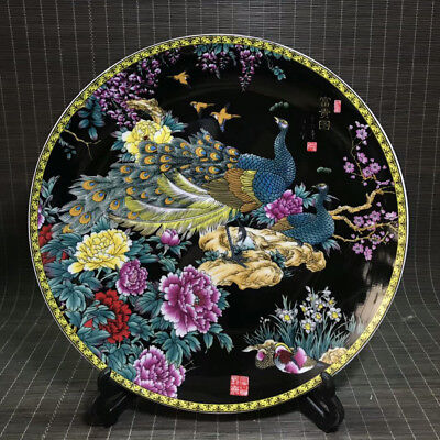 Chinese Famille-Rose Porcelain Hand-Painting Peacock&flower Plate