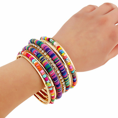 Bohemian Ethnic Women Colorful Fabric Crystal Seed Beads Multilayers Bracelet