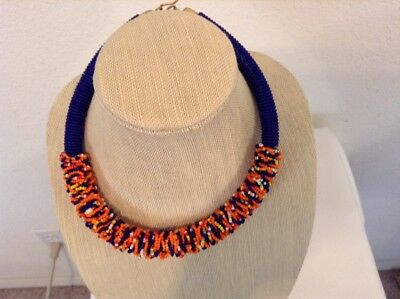 African-Arena Handcrafted Maasai Masai Beaded Tribal Ethnic OOAK Necklace AA57